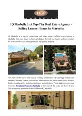 IQ Marbella Is A Top-Tier Real Estate Agency - Selling Luxury Homes In Marbella.PDF