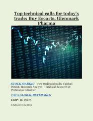 Top technical calls for today's trade- Buy Escorts, Glenmark Pharma.pdf