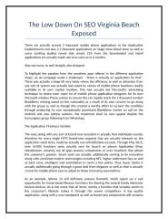 The Low Down On SEO Virginia Beach Exposed.doc
